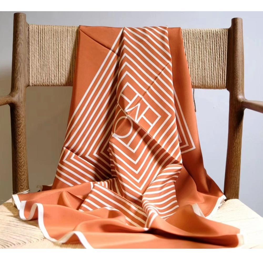 Stripe Print 100% Silk   Scarf     Wraps   Women Large Square Fashion   Scarves   Foulard 35*35 Inches
