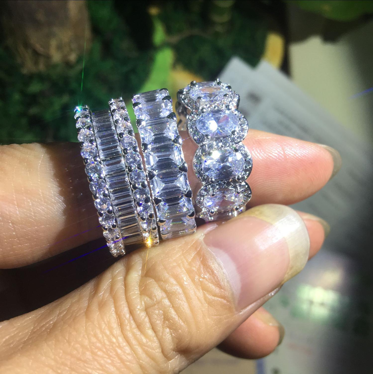 Eternity Promise Ring 925 Silver AAAA cz Engagement Wedding Band Rings Women New