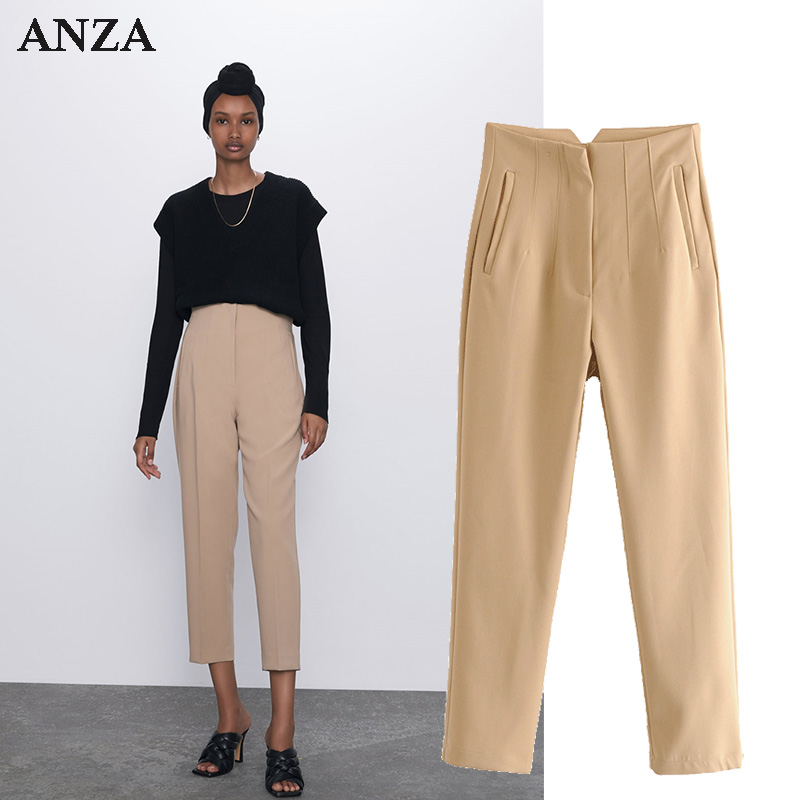 ZA 1:1 Women Casual Long Pants With High Waist Solid Chiffon Office Wear Elegant Pencil Pants White Pink Long Trousers