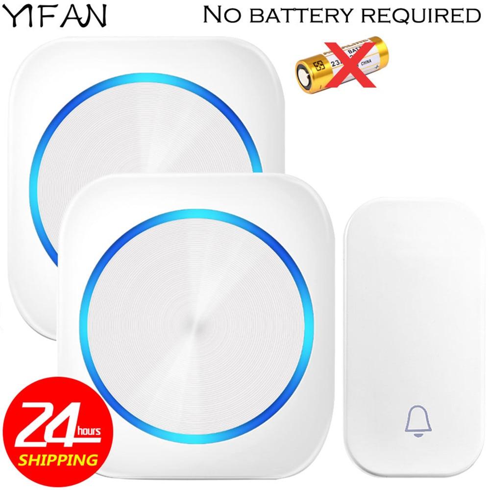 YIFAN Self-powered Wireless Doorbell no battery Waterproof 150M Remote EU Plug Door Bell Chime 1 2 button 1 2 receiver 58 music