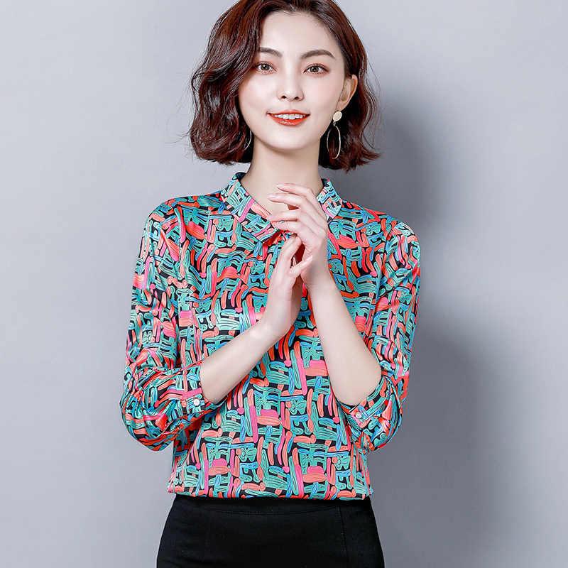 Vrouwen Mode Blouses 2020 Lente Zijde Bloemen Elegante Blouse Vrouwen Shirts Lange Mouw Vrouwen Tops Plussize 4XL Blusas