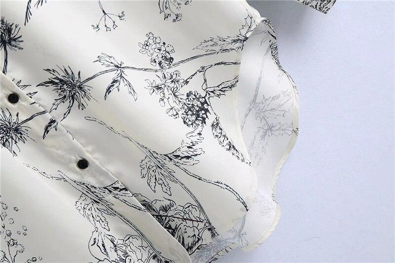 Traf moda feminina floral impressão solto assimétrico