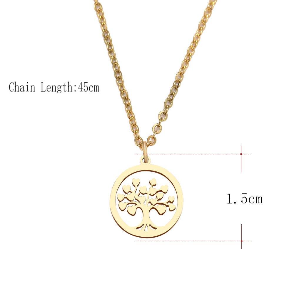 DOTIFI สแตนเลสสำหรับผู้หญิง Tree Of Life สร้อยคอจี้รอบ Gold และ Silver สร้อยคอหมั้นเครื่องประดับ D203