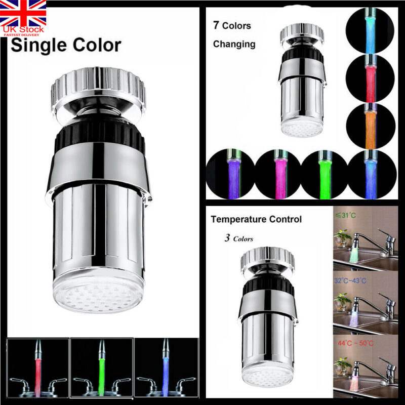 7 Colors Changing Glow LED Light Faucet Creative Kitchen LED Light Water Faucets Water Stream Faucet Tap For Bathroom Kitchen