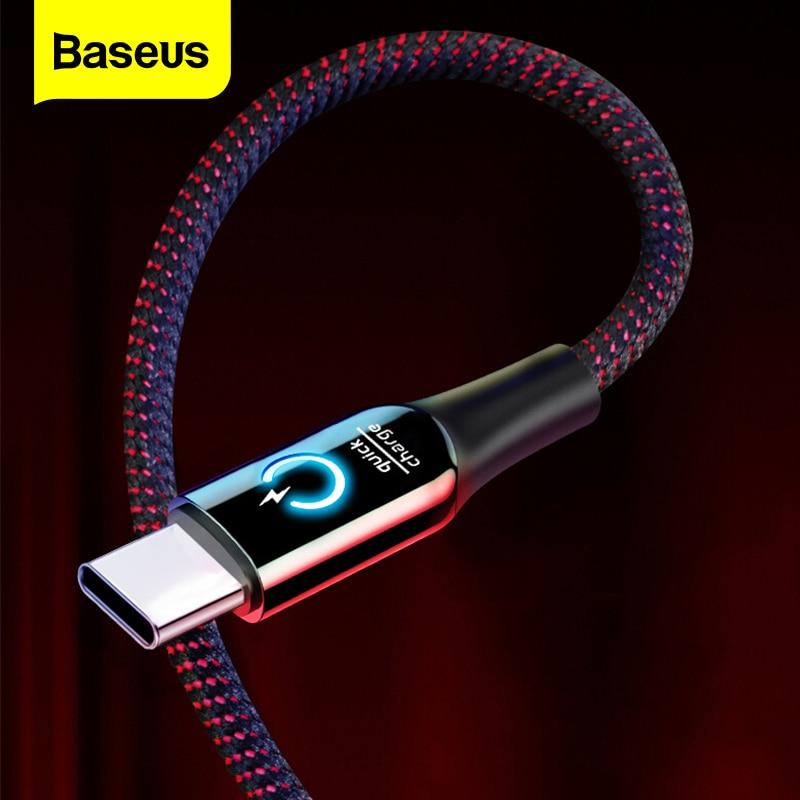 Baseus 3A de potencia inteligente de USB tipo C Qick carga tipo-c Cable para Samsung S10 S9 S8 más Oneplus 6t 6 5t USB C USB-C Cable