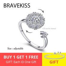 BRAVEKISS роскошные открытые обручальные кольца с кубическим цирконием вращающиеся модные ювелирные изделия для женщин креативное вращение пальцами кольцо PR0197