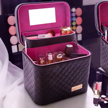 Large-capacity Leather Cosmetic Bag Household Multifunctional Storage Box Portable Portable Multi-layer Cosmetic Storage Box