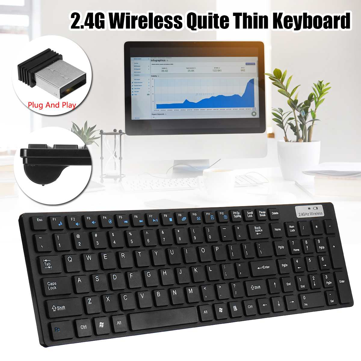 2.4G Wireless Keyboard and Mouse Mini Multimedia Keyboard Mouse Combo Set For Notebook Laptop Macs Desktop PC TV Office Supplies