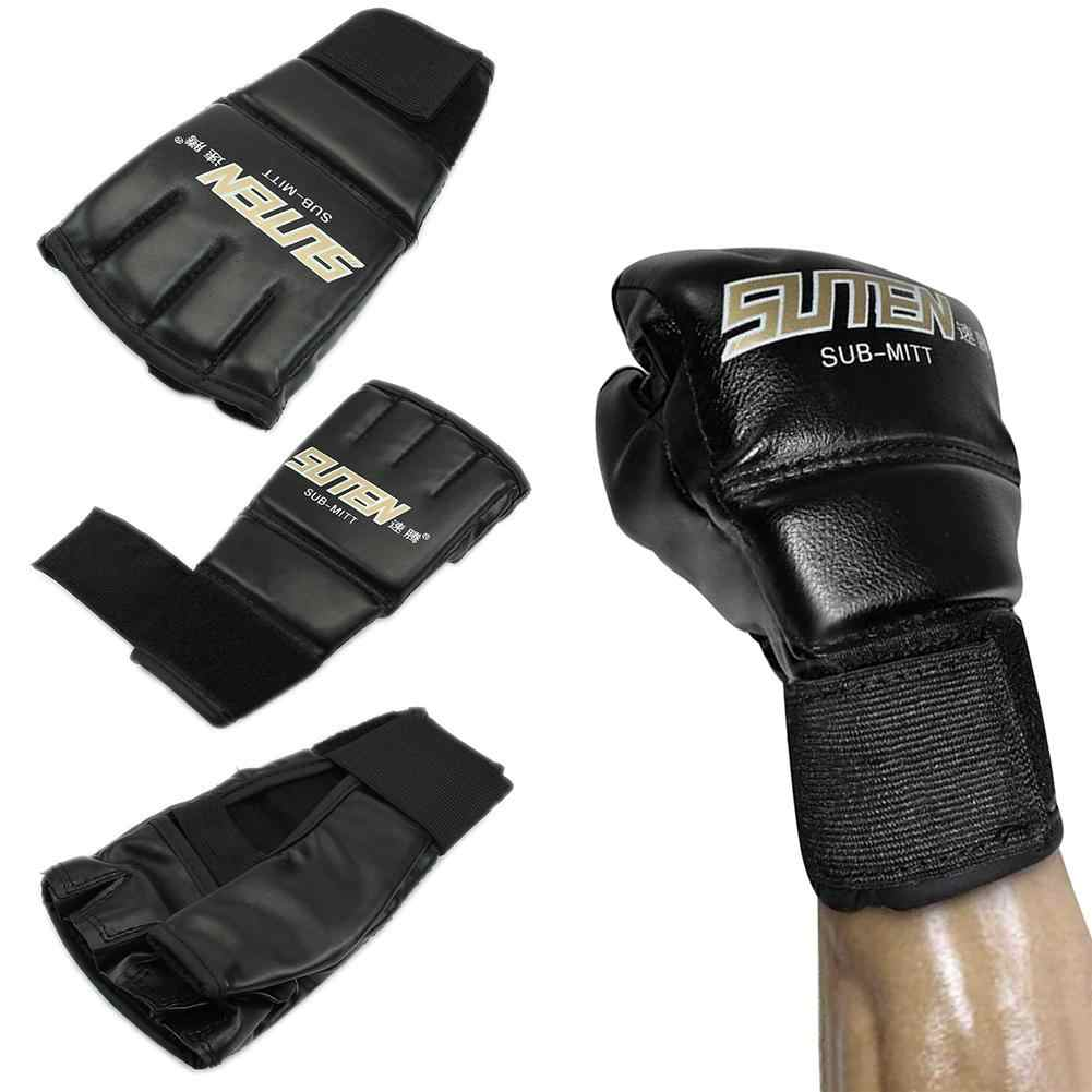 1Pairs من نصف اصبع قفازات ملاكمة التايلاندية ركلة قفازات ملاكمة حامي فنجر الكاراتيه الرمل لوازم التدريب
