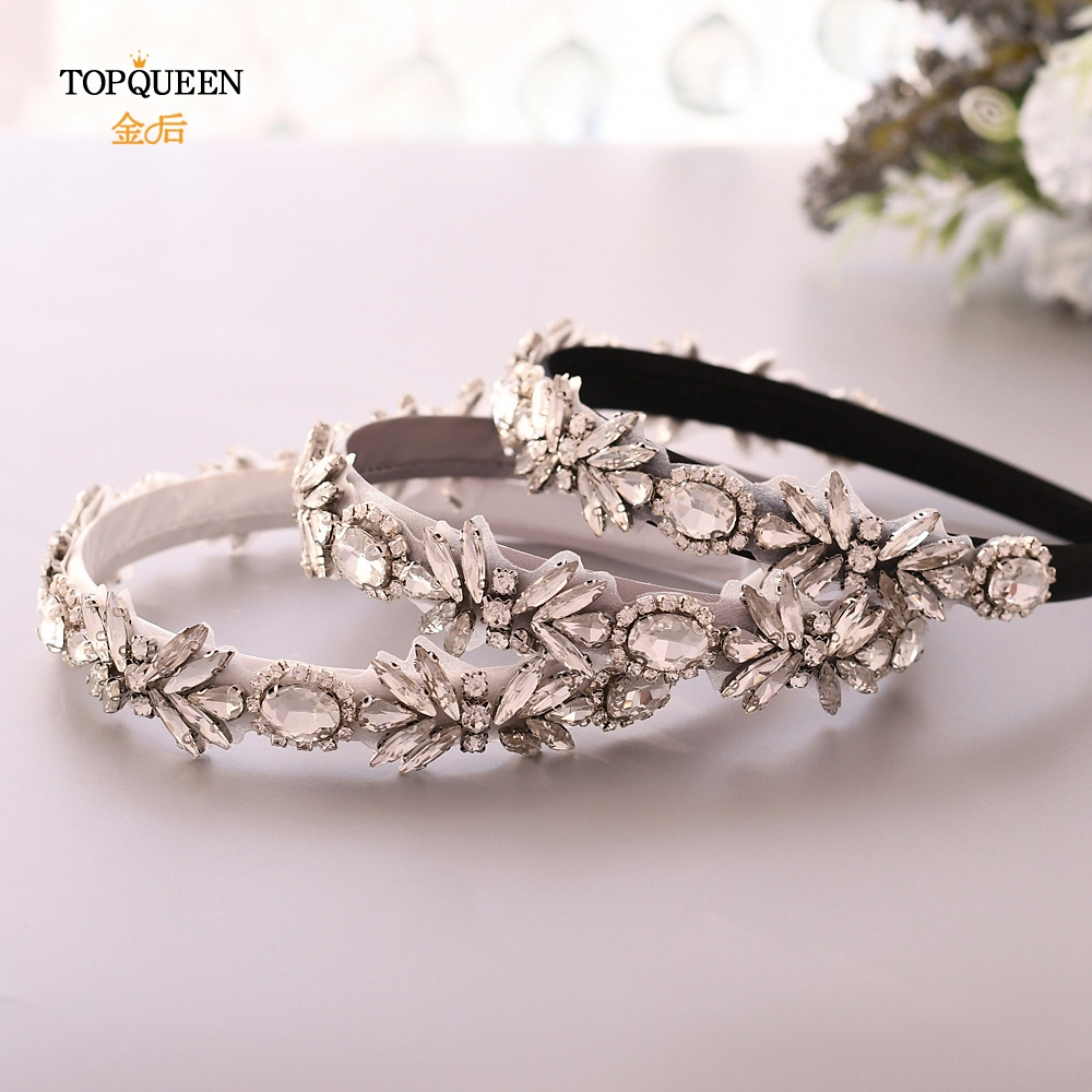 TOPQUEEN S292-FG Wedding Rhinestone Hair Accessories Bridal Tiara Headpieces Silver Rhinestone Headband Baroque Hair Band