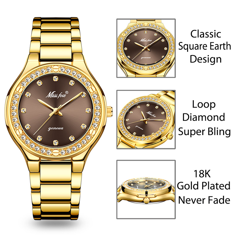 MISSFOX Elegant Woman Watch Luxury Brand Female Wristwatch Japan Movt 30M Waterproof Gold Expensive Analog Geneva