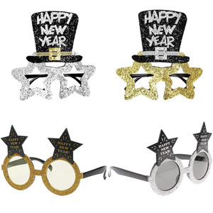 Happy New Year Star Hat Glitter Glasses Frame Photo Props New Year Eve Festive Party Eyeglasses Christmas Decor Kids Gifts 2021