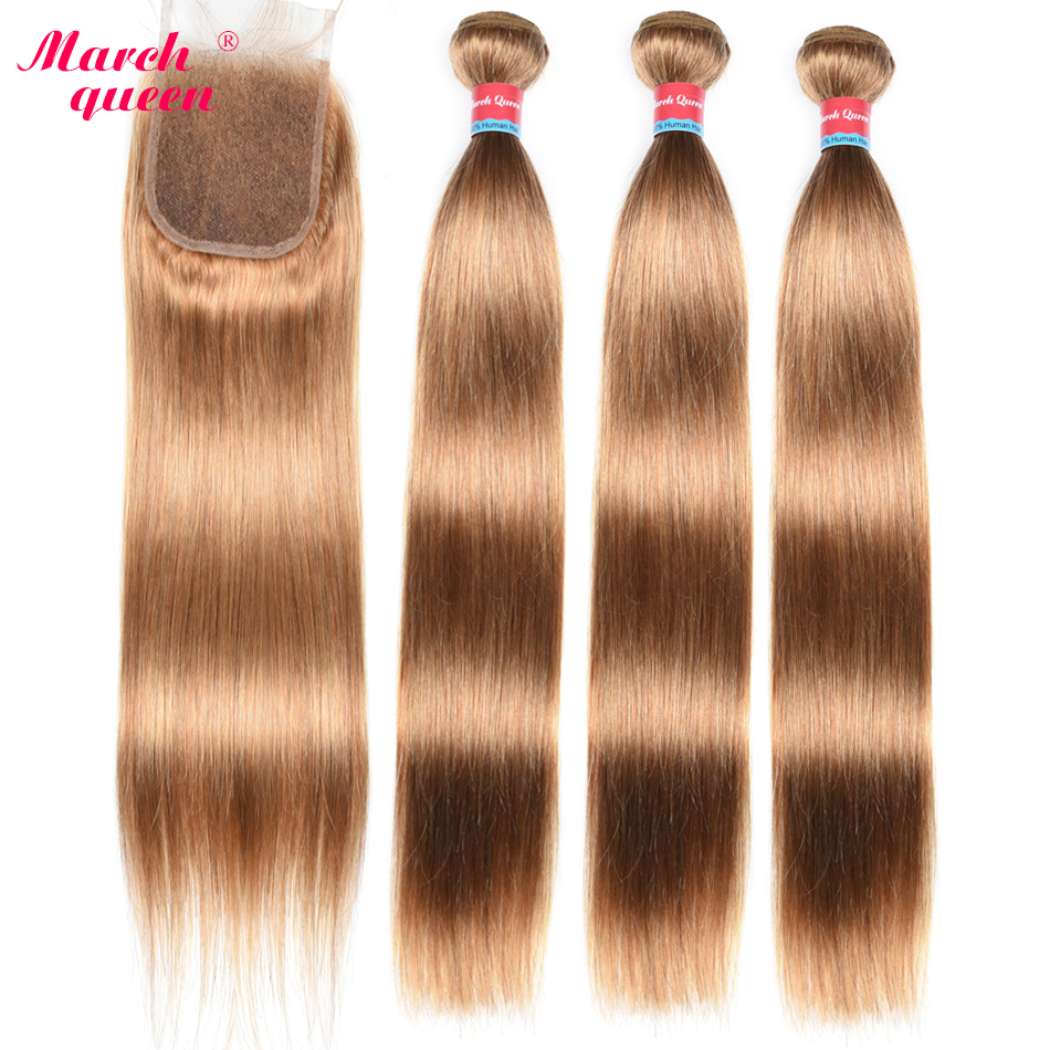 March Queen Brazilian Hair Straight 3 Bundles With Closure #27 Honey Blonde Color Hair Human Hair Weave With 4*4 Lace Closure