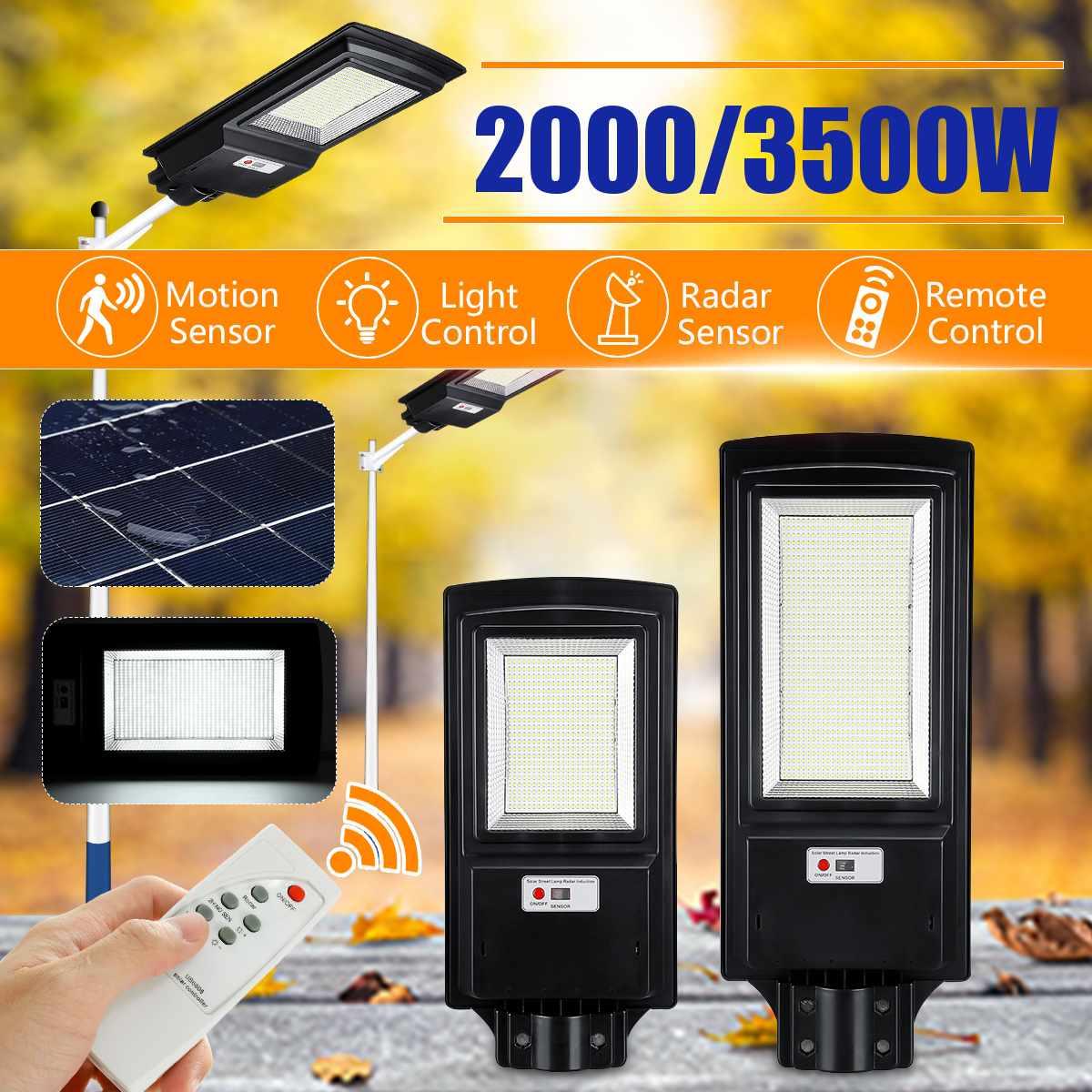 2000W 3500W LED Solar Straße Licht 2835smd Radar Sensor Super Helle 436led/936led Remote Solar Lampe für plaza und Pathway
