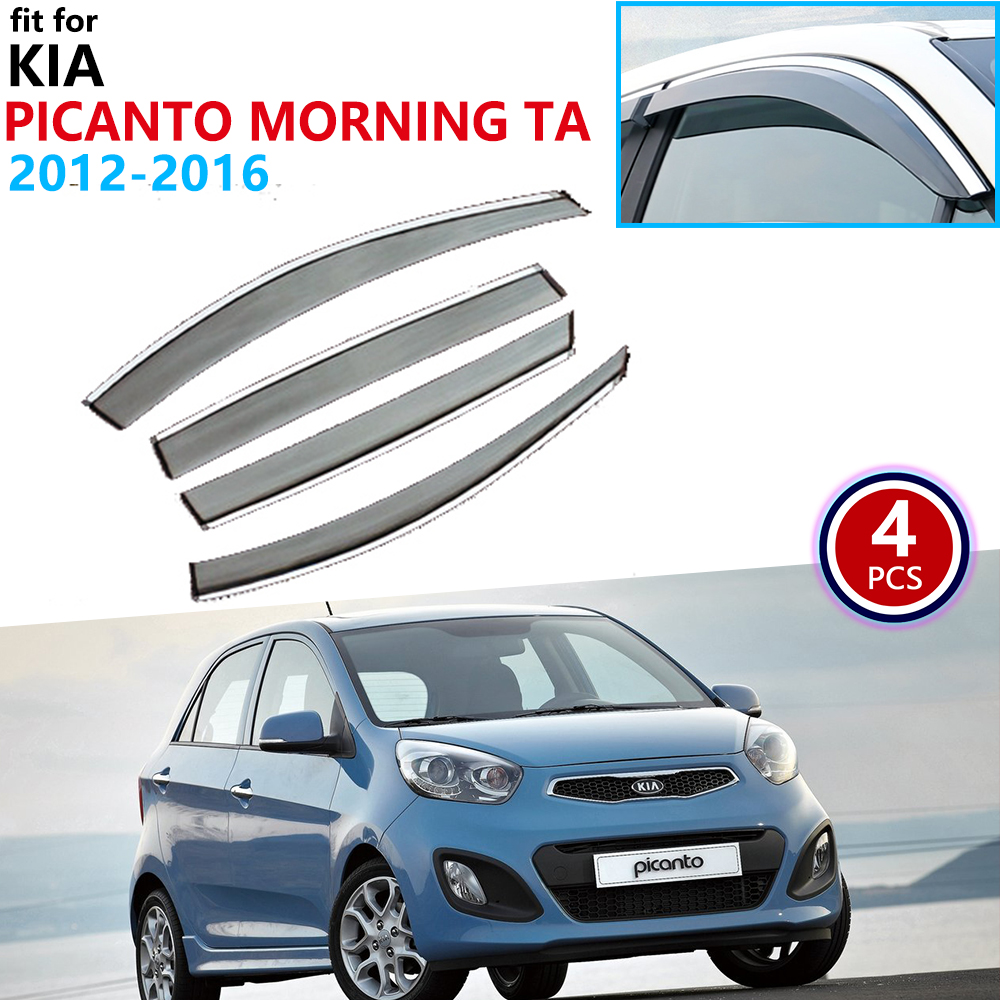 For Kia Picanto Morning TA 2012 2013 2014 2015 2016 Window Visor Vent Awnings Rain Guard Deflector Shelters Cover Accessories