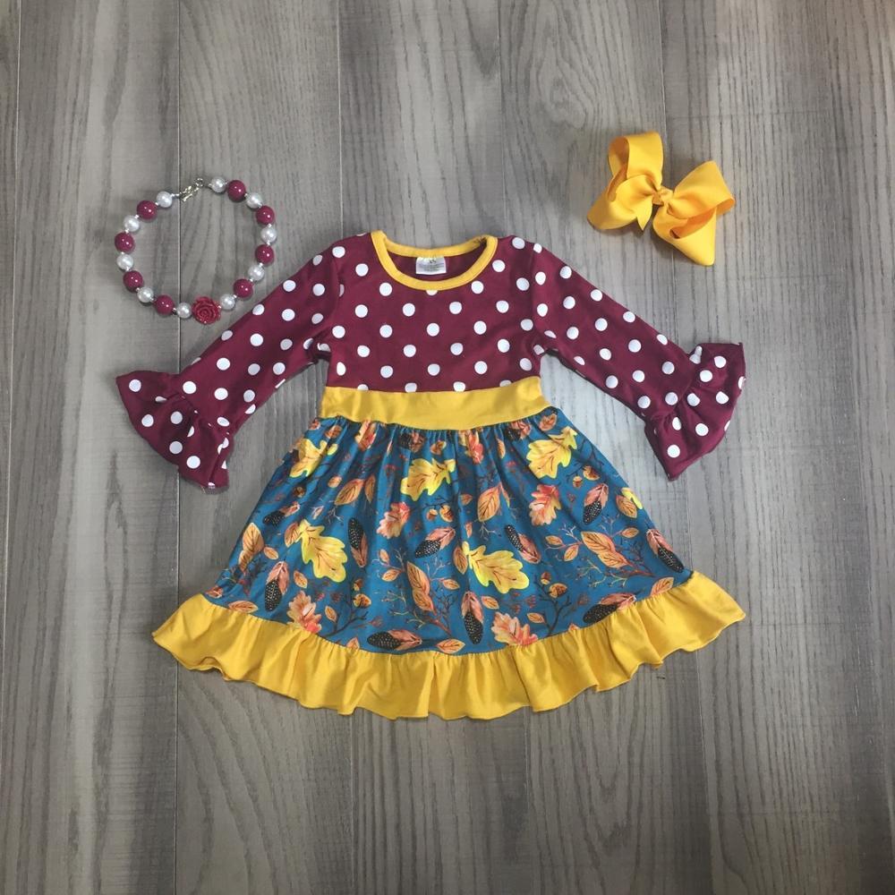 new Fall/winter baby girls children clothes cotton wine floral ruffles dress boutique knee length long sleeve match accessoriesDresses   -