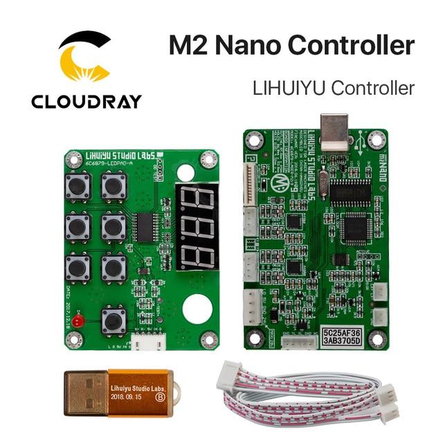 Cloudray lihuiyu M2 ナノレーザーコントローラ母のメインボード + 制御パネル + ドングルbシステム彫刻カッターdiy 3020 3040 K40