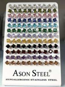 Image 4 - Asonsteel Zilver Kleur 6Mm Vierkante Crystal Cubic Zirconia Stud Oorbellen Voor Vrouwen Roestvrij Staal Oorbellen Boucles D Oreilles