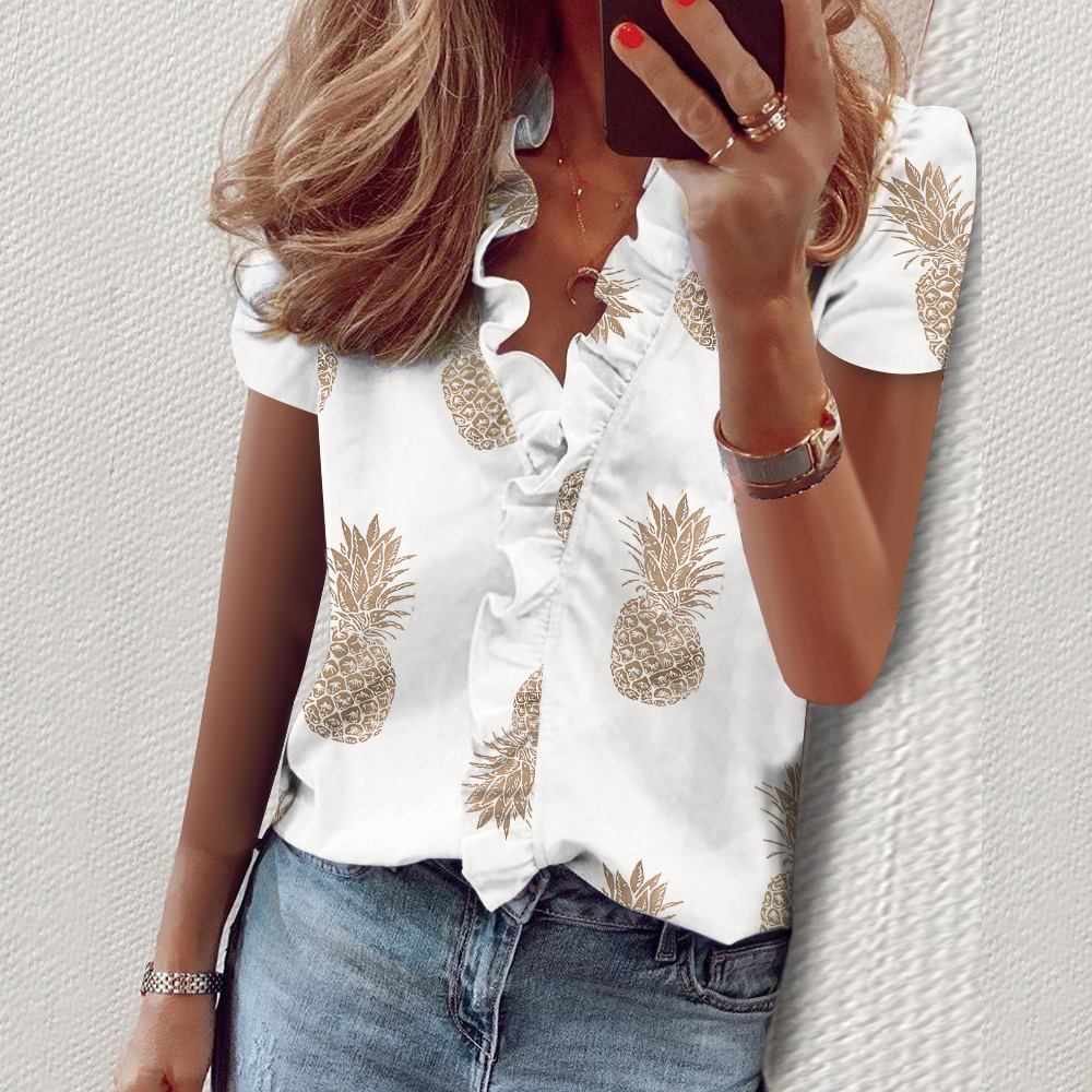 New Daisy Pineapple Print Ruffle Blouse Shirts Office Lady 2020 Summer Short Sleeve Slim Blouses Women Sexy V-neck Tops