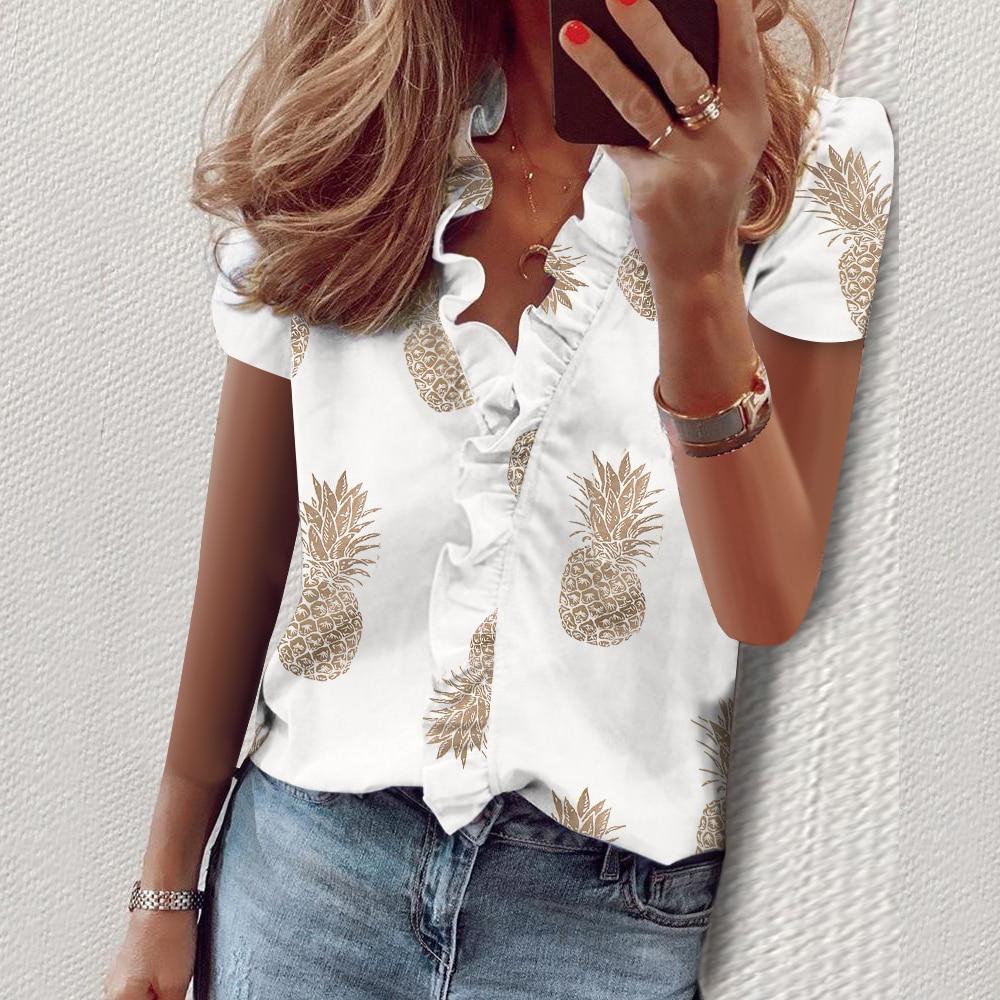 New Daisy Pineapple Print Ruffle Blouse Shirts Office Lady 2020 Summer Short Sleeve Slim Blouses Women Sexy V-neck Tops