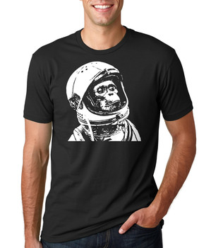 Koszulka Chimp astronauta zabawna koszulka Nasa tanie i dobre opinie Podróż TR (pochodzenie) Cztery pory roku Z okrągłym kołnierzykiem SHORT normal COTTON Na co dzień Znak