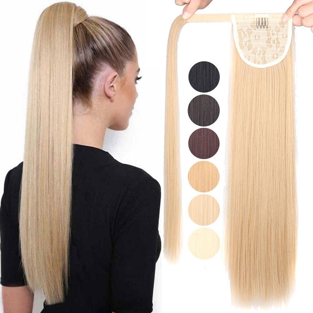 Длинный прямой/волнистый/кукурузы пряди волос на клипсах для синтетический хвостик Обёрточная бумага вокруг наращивание волос хвостик шин...