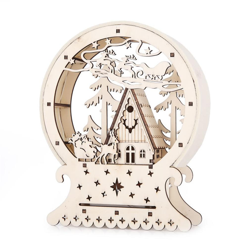 Christmas Wooden Night Light Illuminated House Ornament Wooden Table Lamp Warm White For Bedroom Decoration Children Gifts