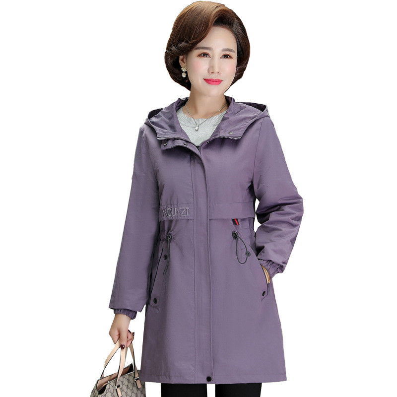 Fashion Plus Size Trench Coat Middle-aged Woman Hooded Windbreaker Casual Tops Women Spring Autumn Zipper Slim Outerwear 3275
