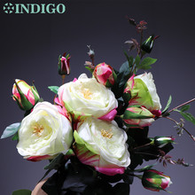 INDIGO- 5pcs White Rose Spray Flower With Buds (1 flower+3buds) Home Wedding Real Touch Floral Event Party Free Shipping