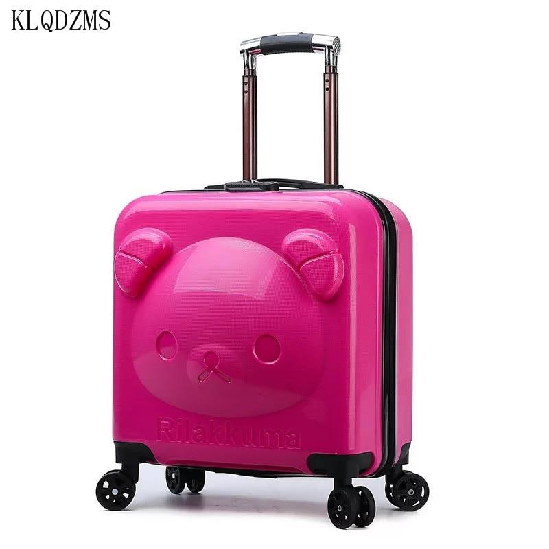 KLQDZMS 18inch Kids Luggage Cartoon PP Suitcase Boarding Rolling Luggage Children Travel Bag Kids Suitcase