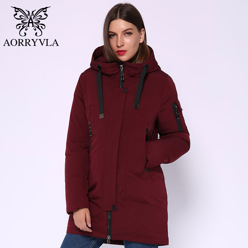 AORRYVLA 2019 nouvelle Collection hiver doudoune longue Parka à capuche manteau épais veste femme Parka hiver veste chaude de haute qualité