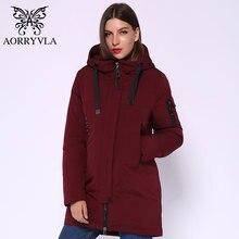 AORRYVLA 2020 جديد الشتاء سترة نسائية موضة القطن طويل سترة معطف مقنع المرأة سميكة سترات الشتاء الدافئة عالية الجودة
