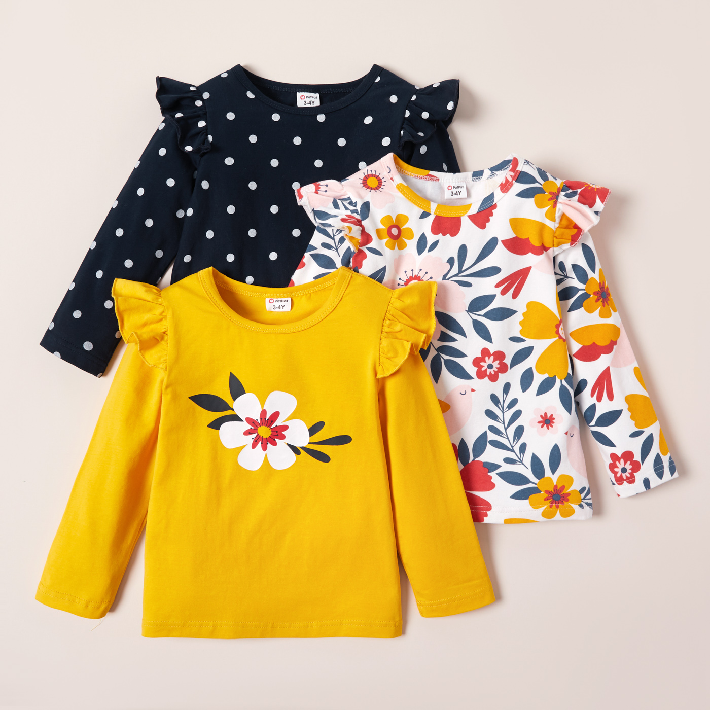 New Arrival Autumn and Spring  3-pack Girls T-shirt
