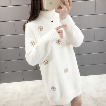 With winter half a turtleneck imitated mink knitted snowflakes in long sweater 45 2