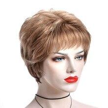 Alizing короткий золотой коричневый парик натуральный волнистый завиток Стиль Повседневный женский парик Классический колпачок Офисная Леди милые короткие синтетические волосы парик 7213