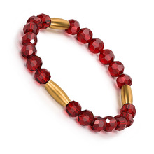 BOFEE Natural Red Glass Beads Bracelet Yoga Charm Stretch Hand Chain Glamour Amulet Fashion Jewelry Women Men Lovers Gifts