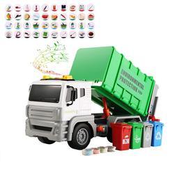 Игрушечный мусорный грузовик, сборщик мусора, модель автомобиля для детей, классификация мусора для малышей, Обучающий Набор игрушечных тр...