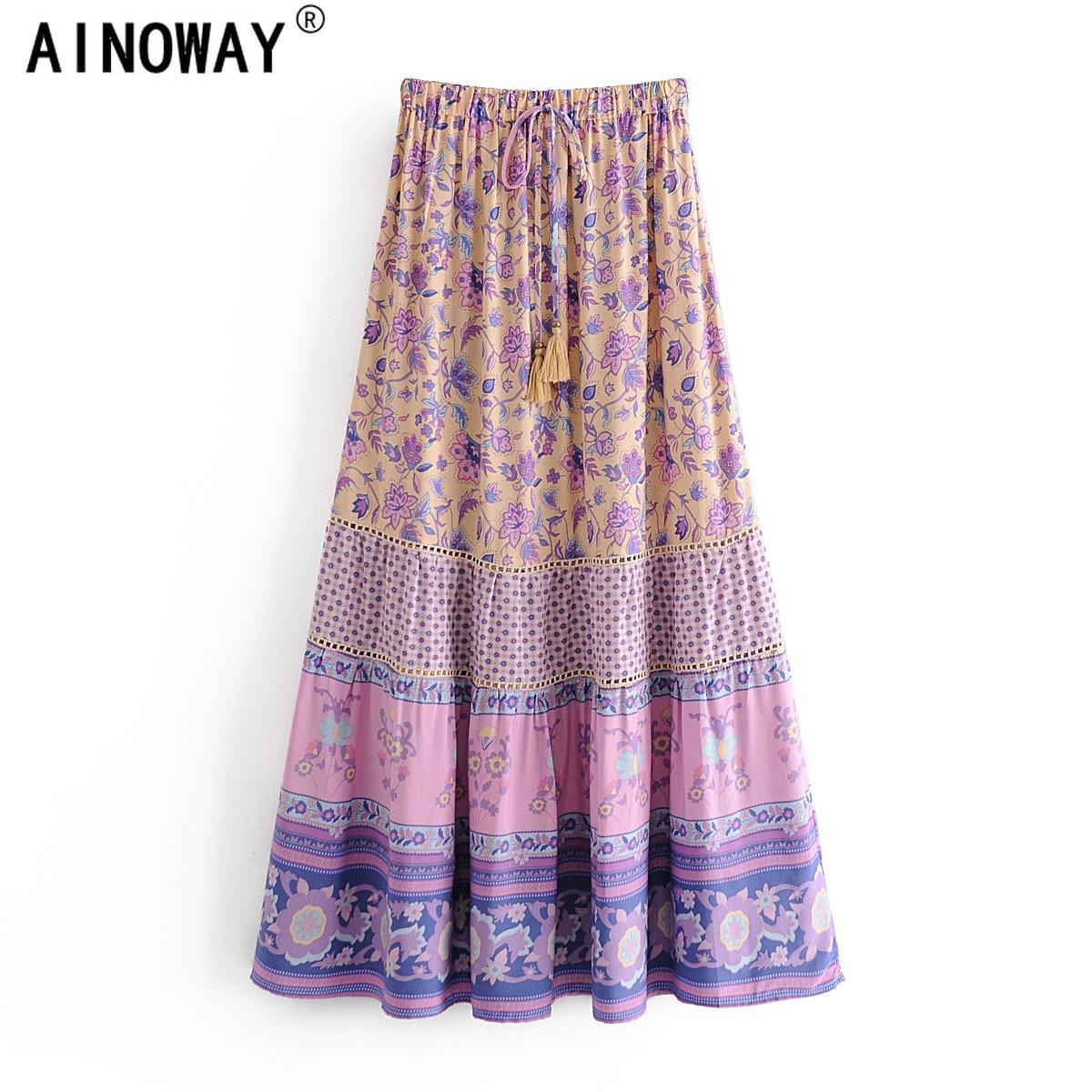 Maxi Skirt Boho Floral-Print Purple Bohemian Vintage Beach Women High-Elastic-Waist Fashion