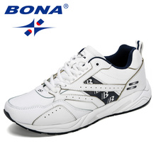 BONA New Designers Cow Split Running Shoes Men Outdoor Sneakers Shoes High Quality Breathable Shoes Jogging Tennis Shoes
