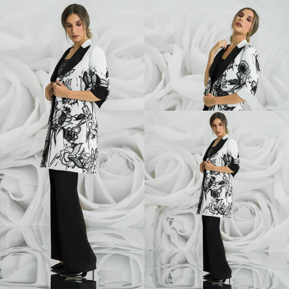 Three Pieces Mother Of The Bride Pants Suit Satin Outfit Wedding Guest Gowns Appliqued Formal Evening Dress