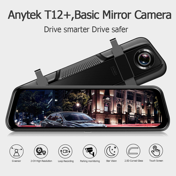 ANYTEK T12+ 9.66 Inch 2.5D Touch Screen 1080P Car DVR stream media Dash camera Dual Lens Video Recorder Rearview mirror 1080p image