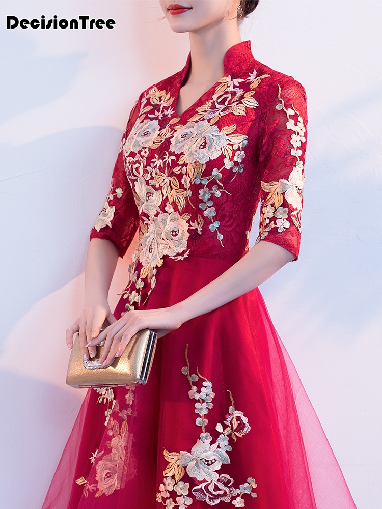 2020 Chinese Evening Gowns Wedding Qi Pao Elegant Long Qipao Gloden Embroidery Lace Cheongsam Chinese Red Bride Wedding Dresses