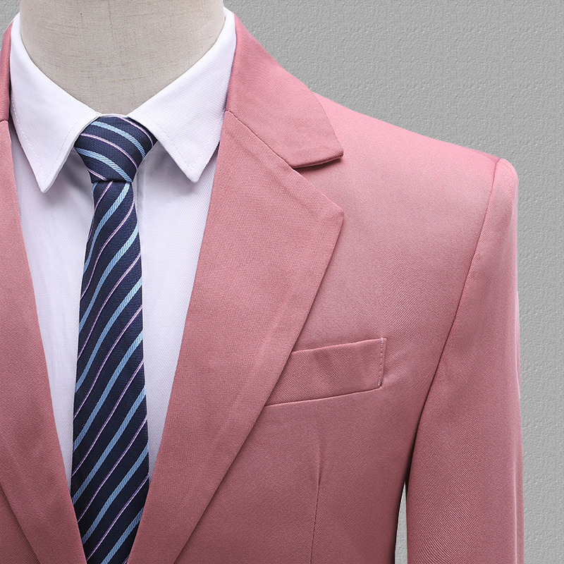 wedding : PYJTRL Mens Two-piece Set Wedding Groom Groomsman Suits Yellow Pink Blue Khaki Stage Singers Costume Latest Coat Pant Designs