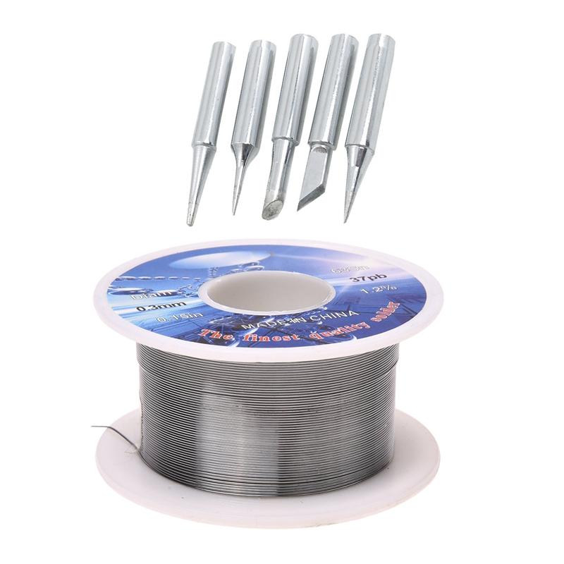 GTBL Solid Solder 0.3mm Dia Flux Core 63% Tin 37% Lead Long Wire Reel & P36 Soldering Station Conical Bevel 60W Solder Iron Tip