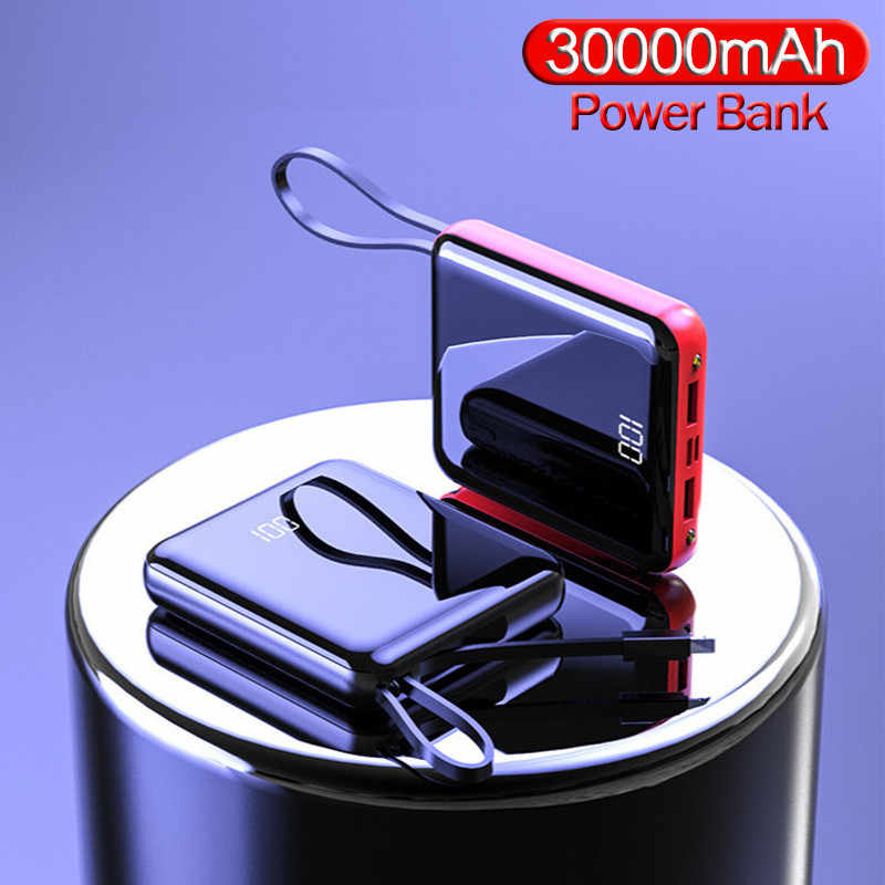 30000 mAh Power Bank Outdoor Travel Phone Charger Protable Mini Powerbank LCD Digital Display LED Light Poverbank for Smartphone