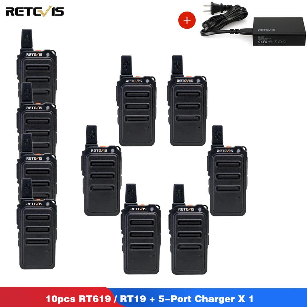 RETEVIS RT619/RT19 Walkie Talkie 10pcs PMR Radio PMR446 FRS VOX Scrambler Two Way Radio Comunicador Transceiver + 5-Port Charger