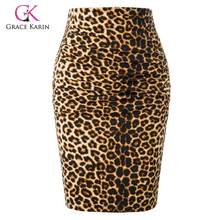 Grace Karin Sexy Leopard Skirt Women Pencil Skirt Knee Length Hips-Wrapped Bodycon Skirts Ladies Office Work Skirt 2019 Summer(China)