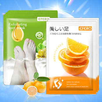EFERO 2Pack Peeling Foot Mask Exfoliating Scrub Pedicure Socks Foot Peel Feet Care For Heels Remove Dead Skin Moisture Feet Mask недорого