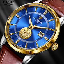 Nowy zegarek męski Ultra cienka tarcza 7MM wodoodporny zegar LIGE Design Casual skórzane męskie zegarki Top marka luksusowy zegarek kwarcowy dla mężczyzn tanie tanio SUNKTA 22cm Moda casual QUARTZ 3Bar Klamra CN (pochodzenie) STAINLESS STEEL Hardlex Kwarcowe Zegarki Na Rękę Papier