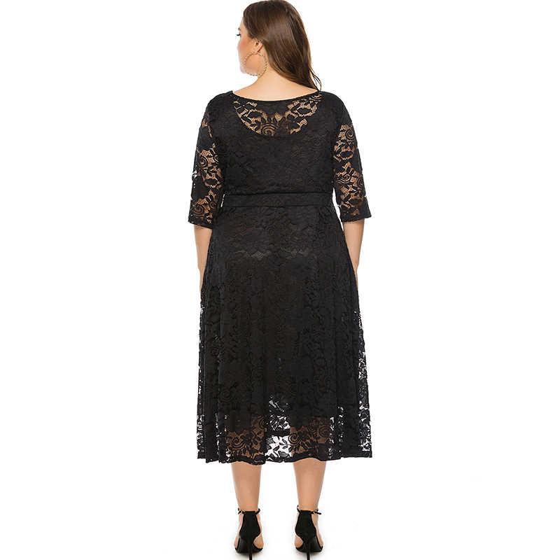 Easehut 5xl 6xl vestido de tamanho grande para as mulheres elegante uma peça o pescoço meia manga magro oco para fora vestido de renda de crochê branco preto